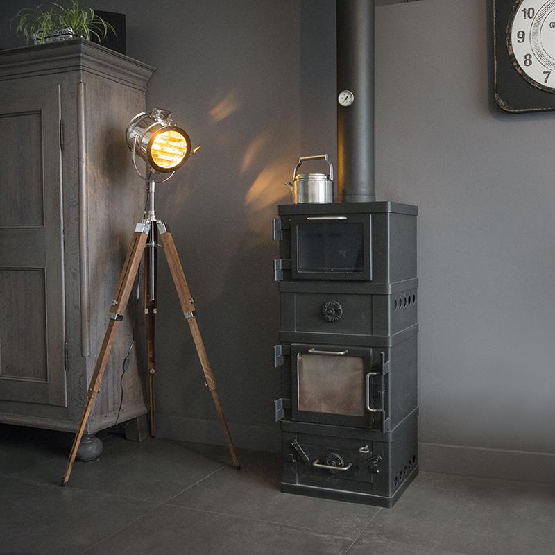 Tripod vloerlamp hout met studiospot - Tripod Radiant