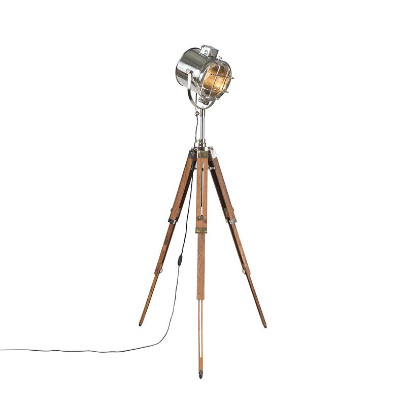 Vloerlamp met houten driepoot en studiospot - Tripod Shiny