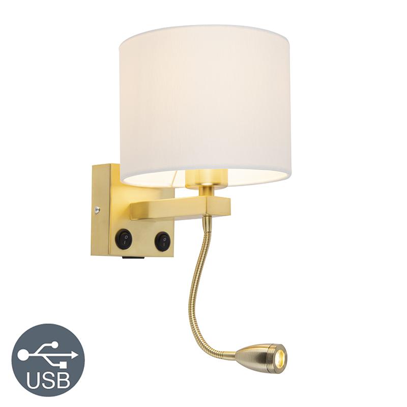 Kinkiet złoty USB klosz biały - Brescia Combi