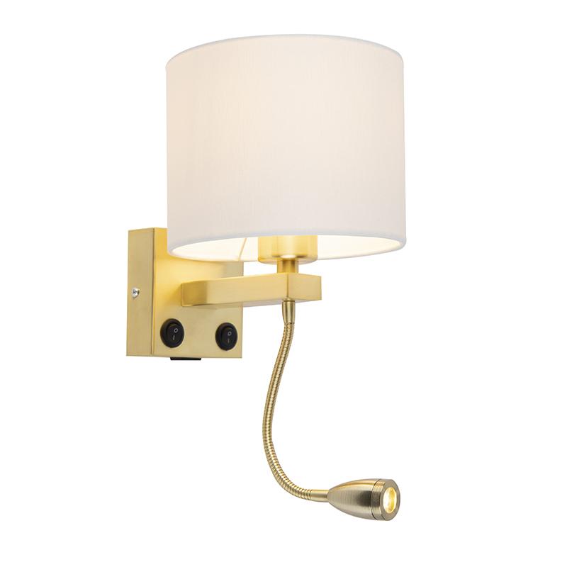 Gouden wandlamp USB met witte kap - Brescia Combi