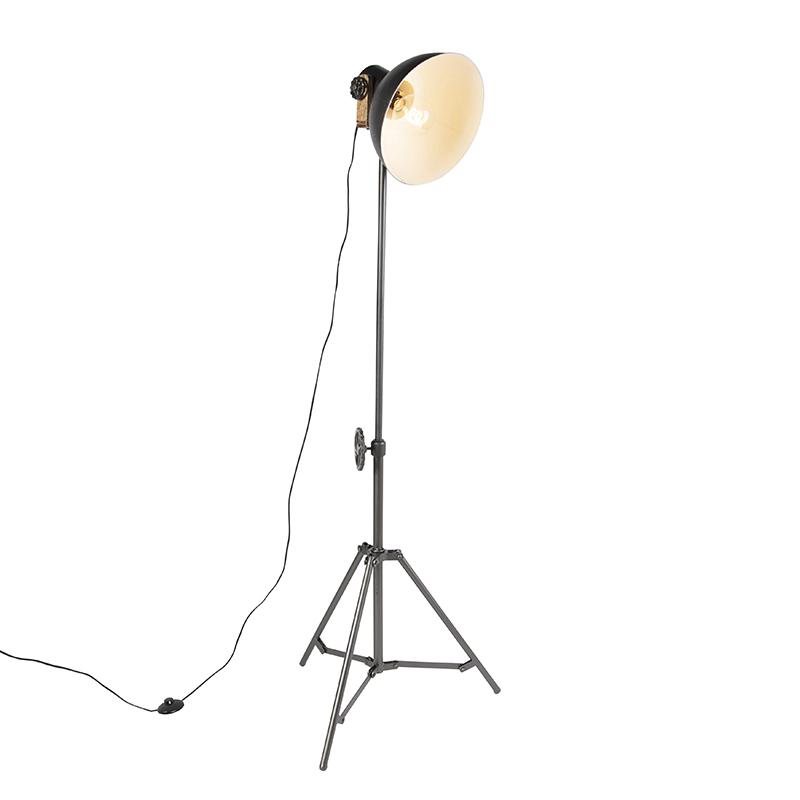 Przemysłowa lampa podłogowa trójnóg czarna - Mangoes