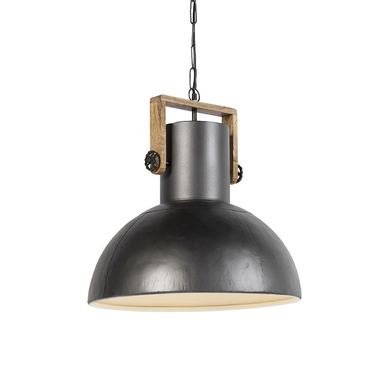 Przemysłowa lampa wisząca czarna drewno - Mangoes