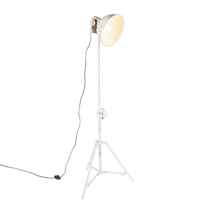 Przemysłowa lampa podłogowa trójnóg biała - Mangoes