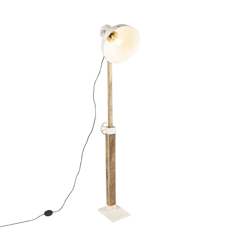 Industriële Vloerlamp Wit Met Mango Hout - Mangoes