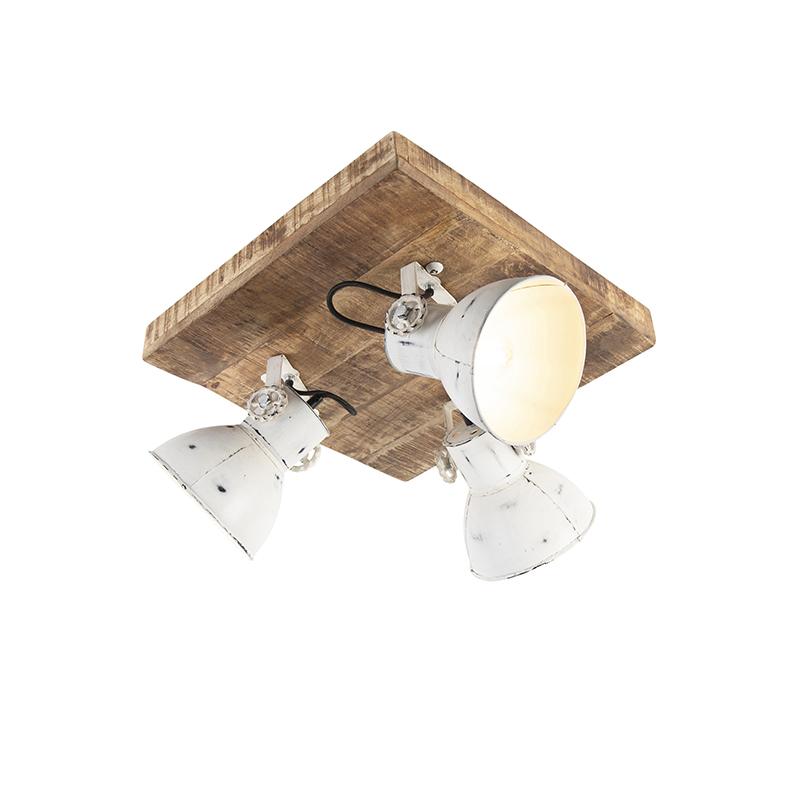 Przemysłowy spot biały drewno 3-źródła światła - Mangoes