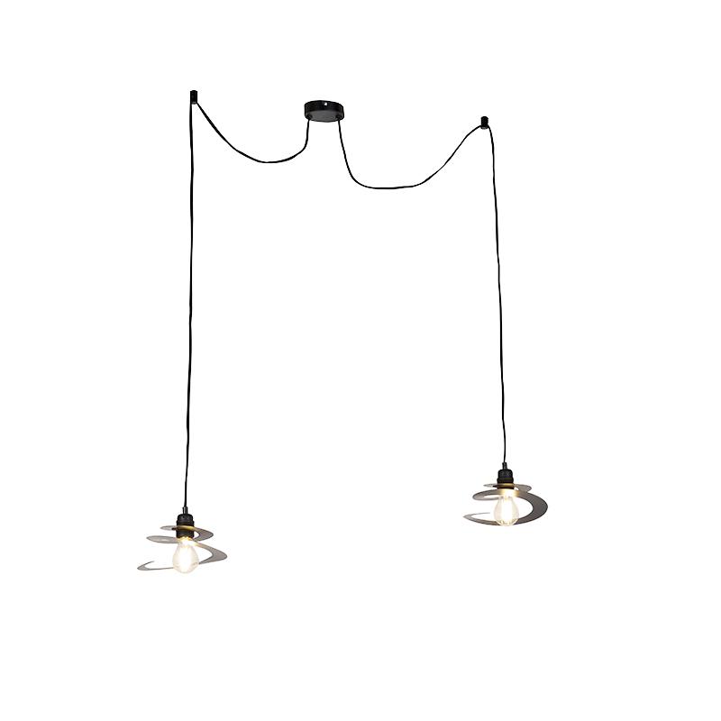 Designerska lampa wisząca 2-źródła światła spiralny klosz 20 cm - Scroll