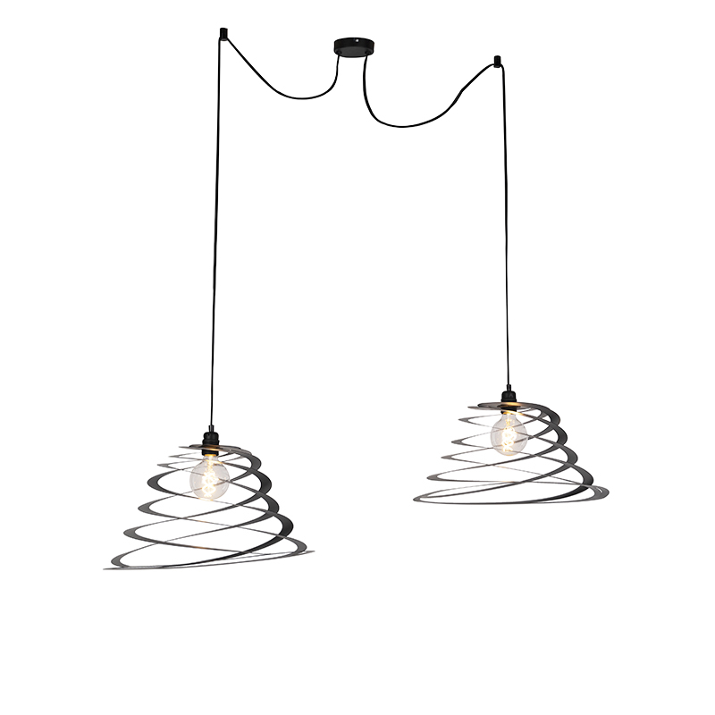 Design hanglamp 2-lichts met spiraal kap 50 cm - Scroll