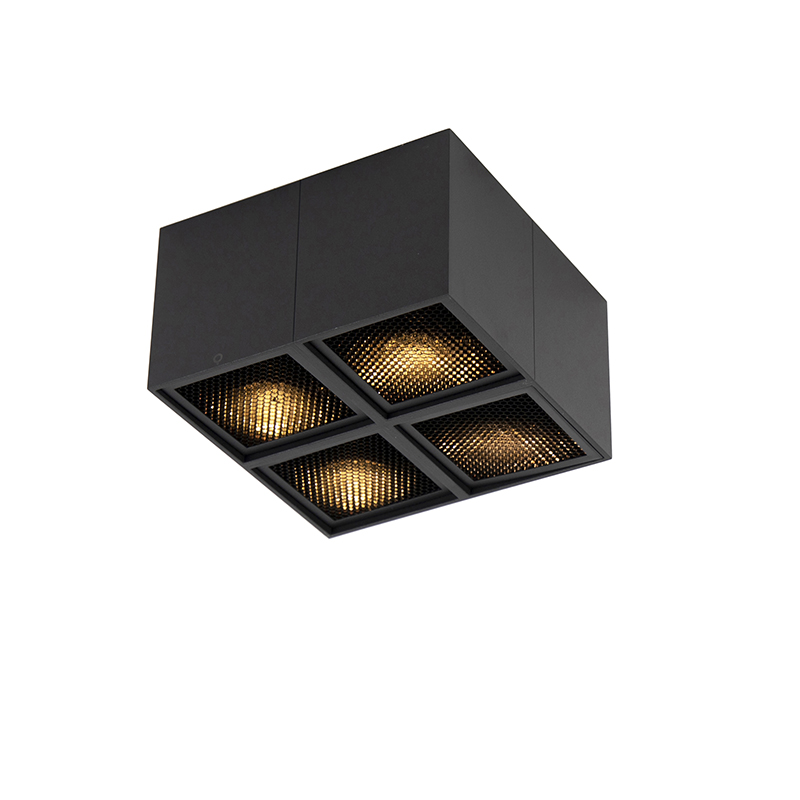 Design spot zwart 4-lichts - Qubo Honey