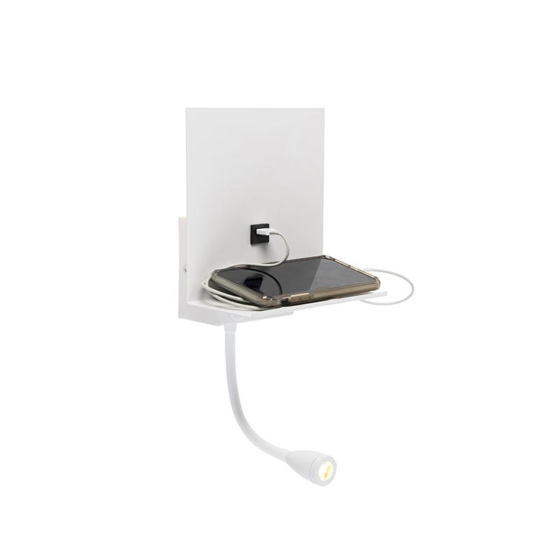 Nowoczesny kinkiet biały z USB i ramieniem - Flero