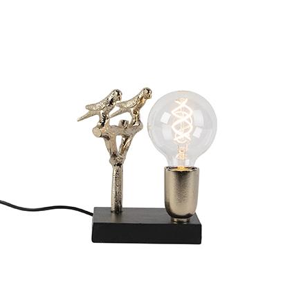 Lampa stołowa art deco czarno-złota 18,5 cm - Pajaro