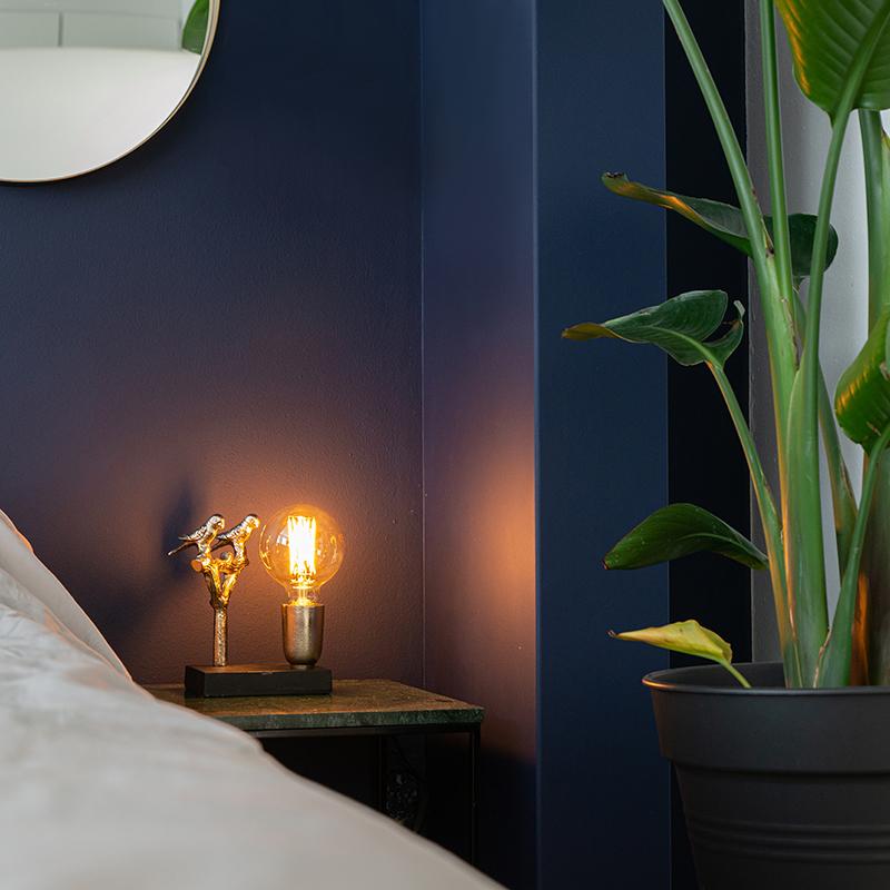 Art Deco tafellamp zwart met goud 18,5 cm - Pajaro