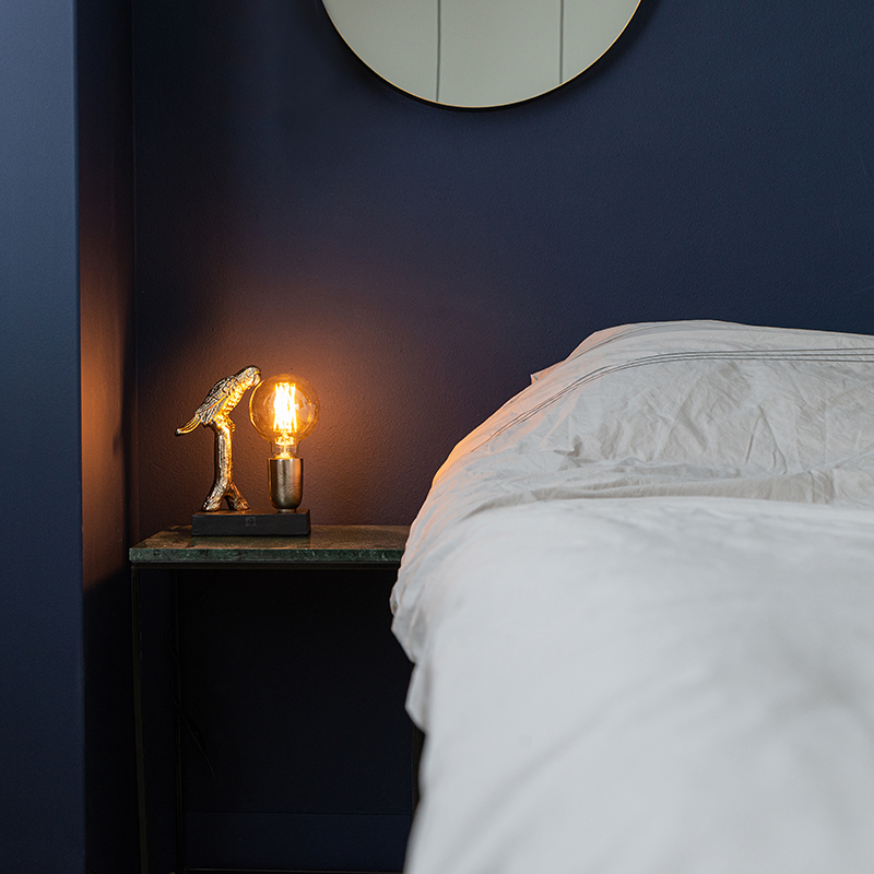 Art Deco tafellamp zwart met goud 23 cm - Pajaro