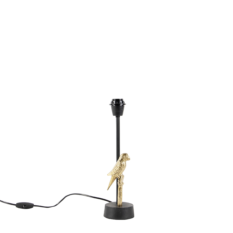 Art Deco tafellamp zwart met goud 39 cm zonder kap - Pajaro
