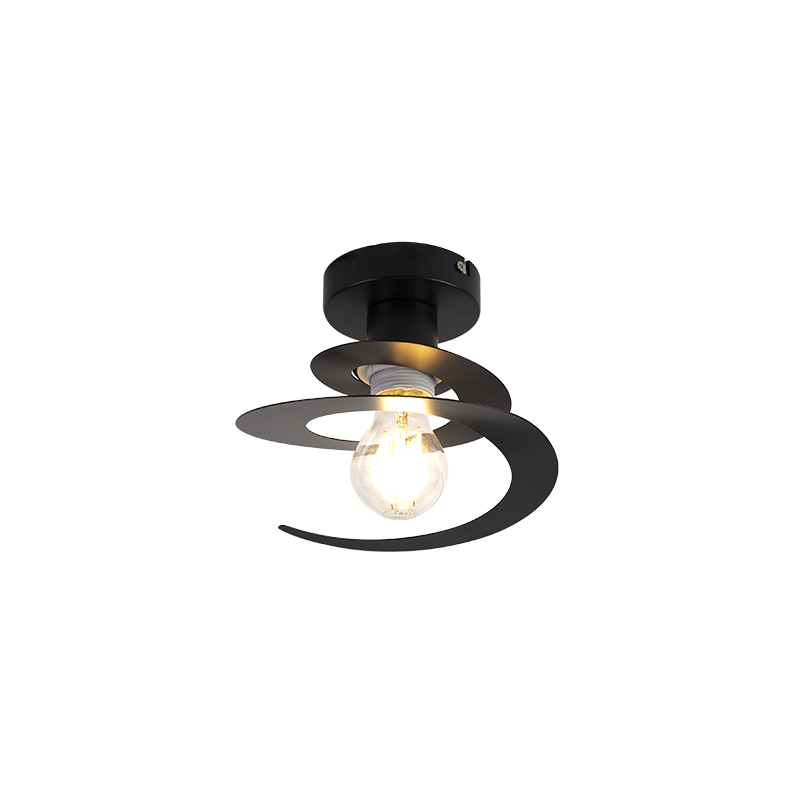 Moderne plafondlamp met zwarte spiraal kap - Scroll