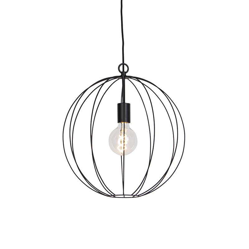 Designerska lampa wisząca okrągła czarna 40 cm - Pelotas
