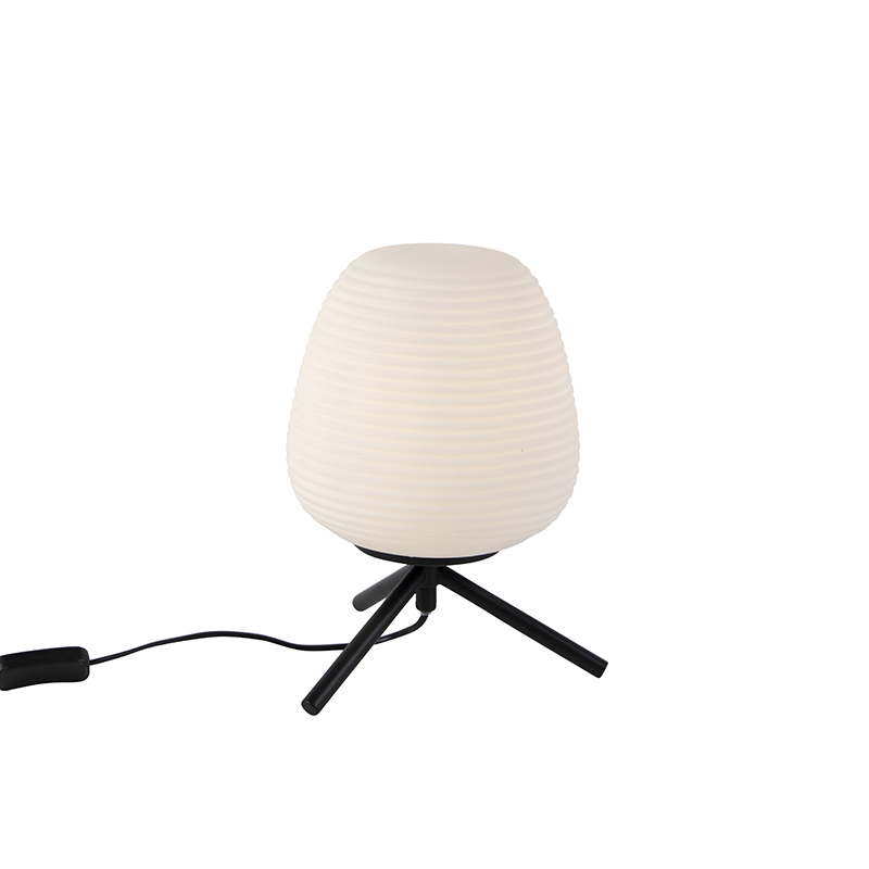 Design tafellamp zwart 20 cm met opaal glas - Hero