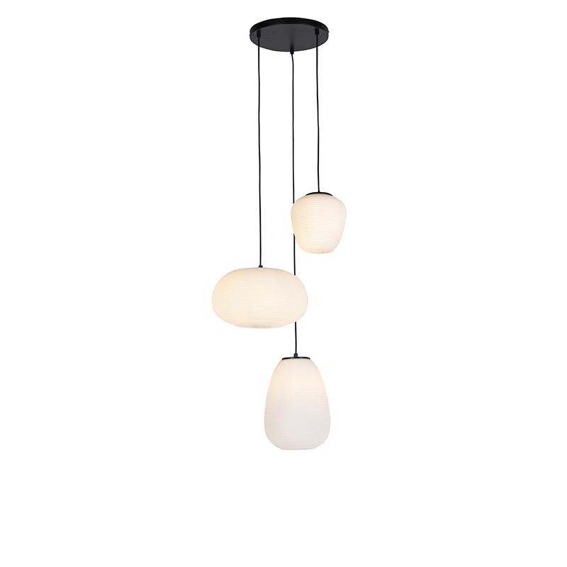 Design hanglamp zwart 3-lichts met opaal glas - Hero