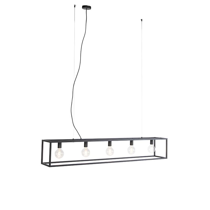 Moderne rechthoekige hanglamp zwart 5-lichts - Cage