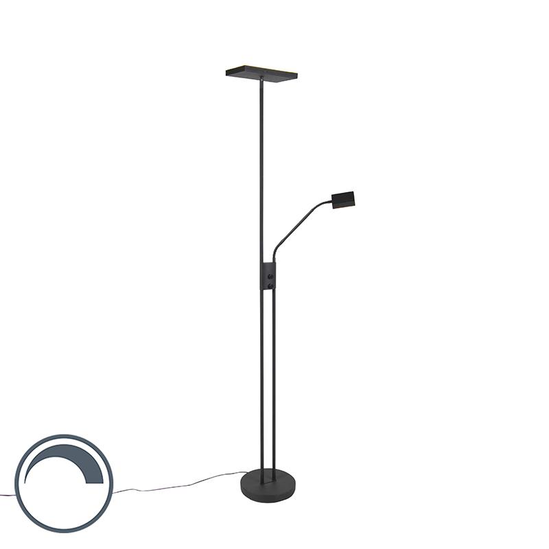 Moderne vloerlamp met leeslamp vierkant zwart - Jazzy