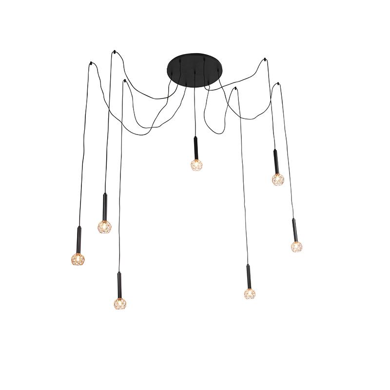 Wisząca lampa czarna z miedzianą 7 lampkami - Siatka