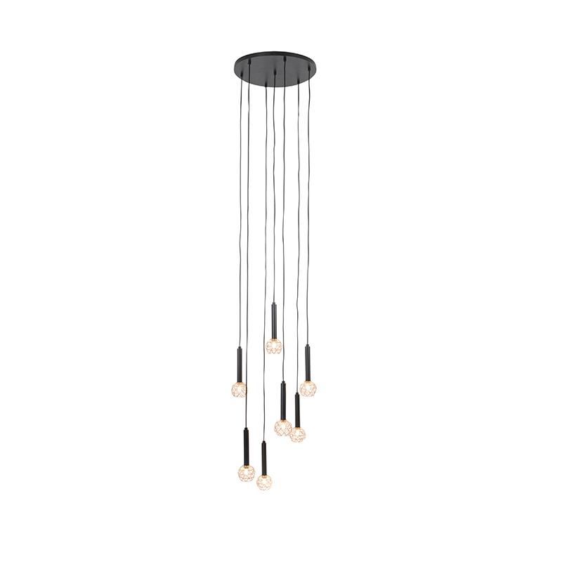 Hanglamp zwart met koper 7-lichts - Mesh