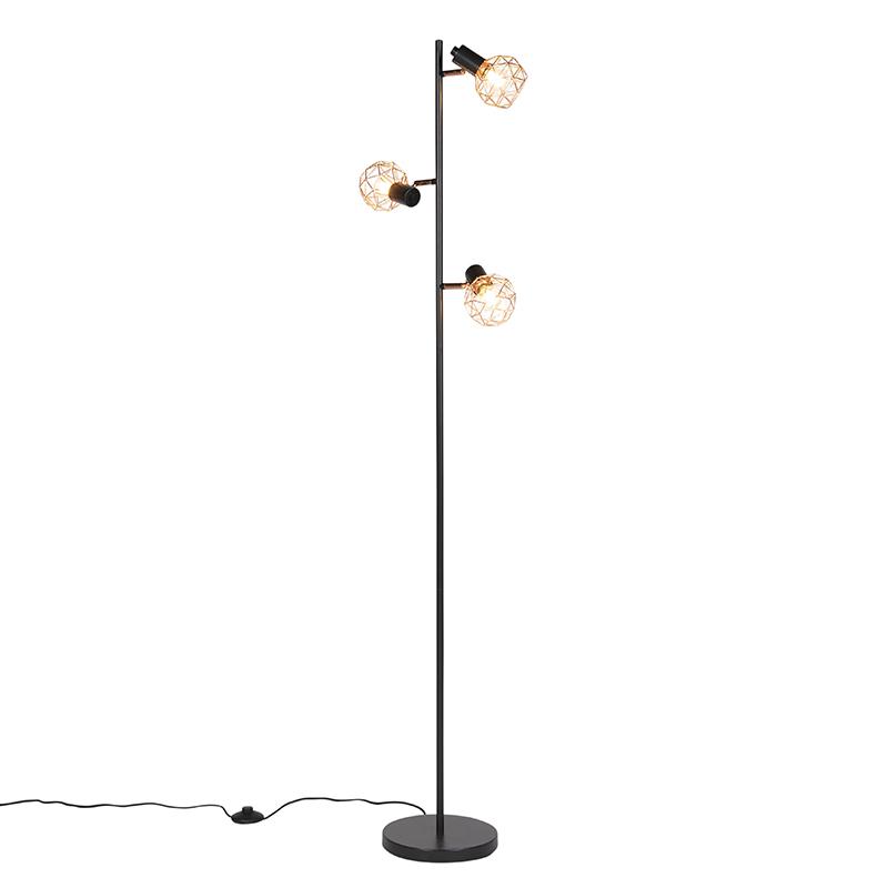 Vloerlamp zwart met koper 3-lichts - Mesh