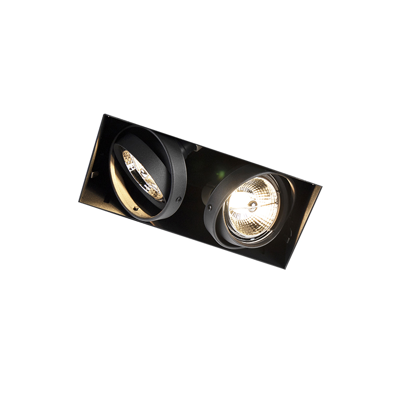 Inbouwspot zwart draai- en kantelbaar trimless 2-lichts - Oneon 2