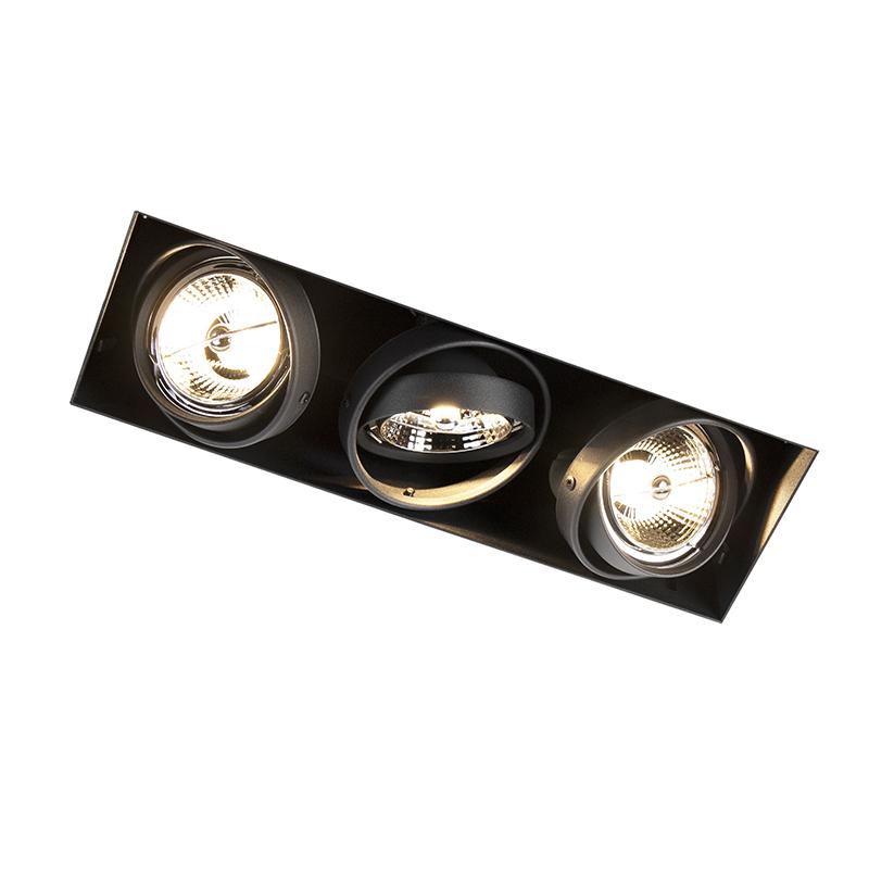 Inbouwspot zwart draai- en kantelbaar trimless 3-lichts - Oneon 3