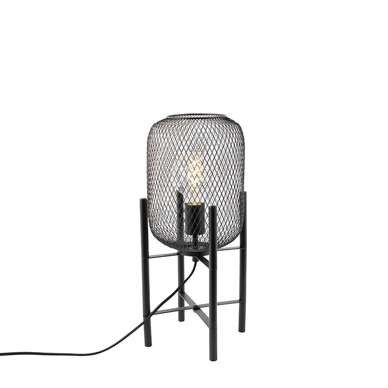 Moderne zwarte tafellamp - Bliss Mesh