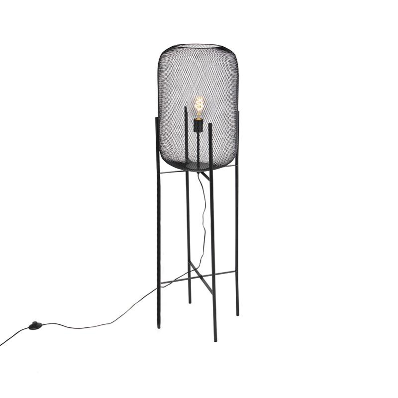 Nowoczesna lampa podłogowa czarna - Bliss Mesh