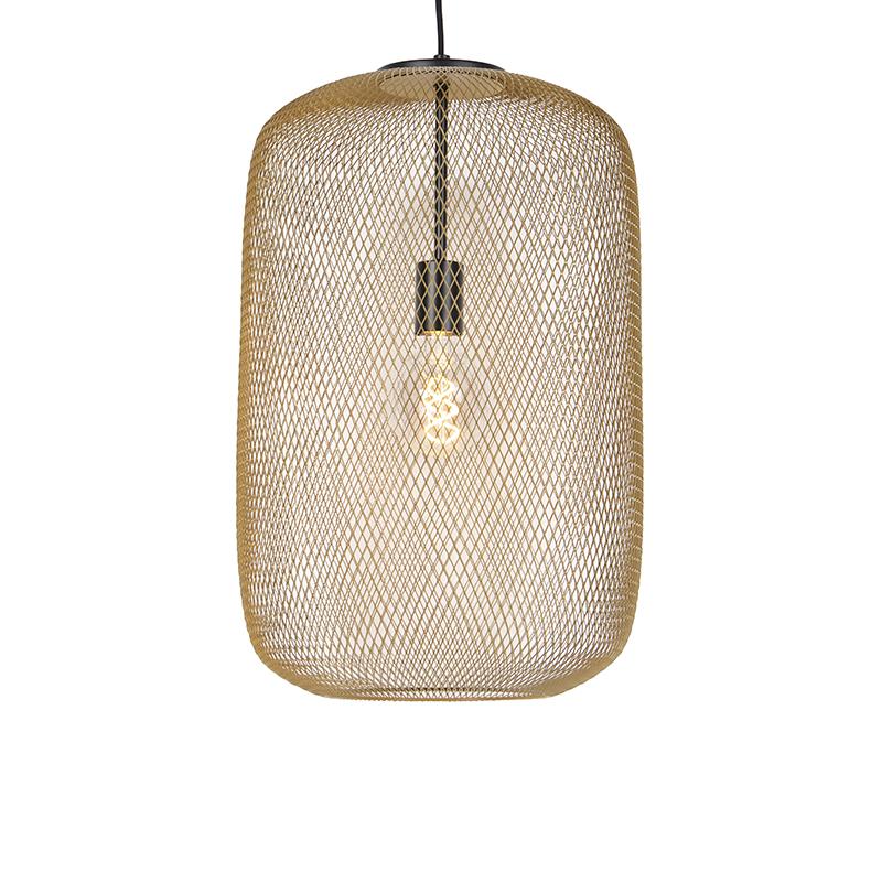Moderne zwart met gouden hanglamp - Bliss Mesh