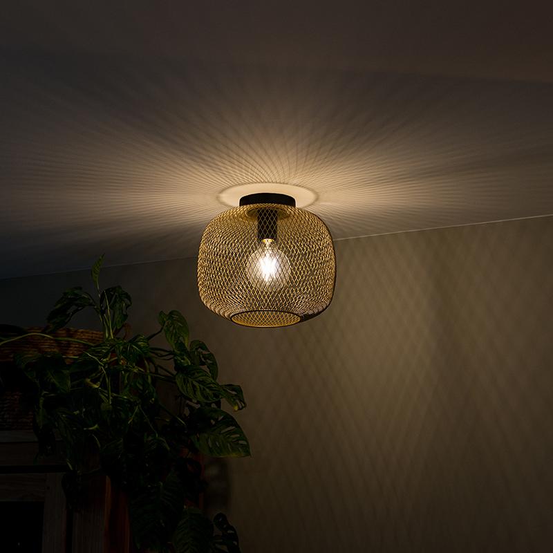 Moderne zwart met gouden plafondlamp - Bliss Mesh