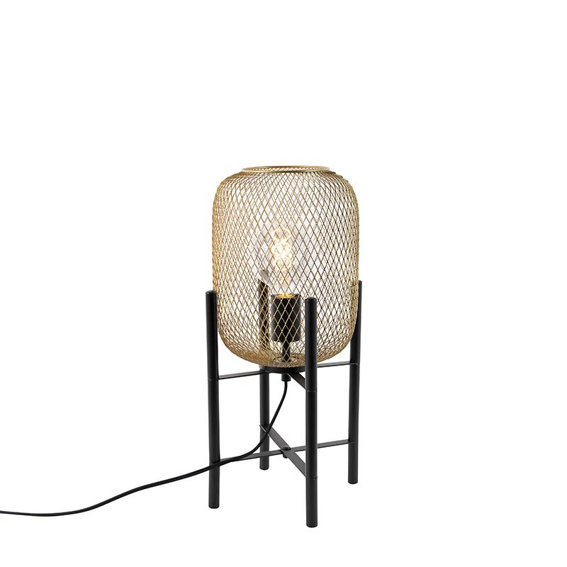 Nowoczesna lampa stołowa czarna ze złotym - Bliss Mesh