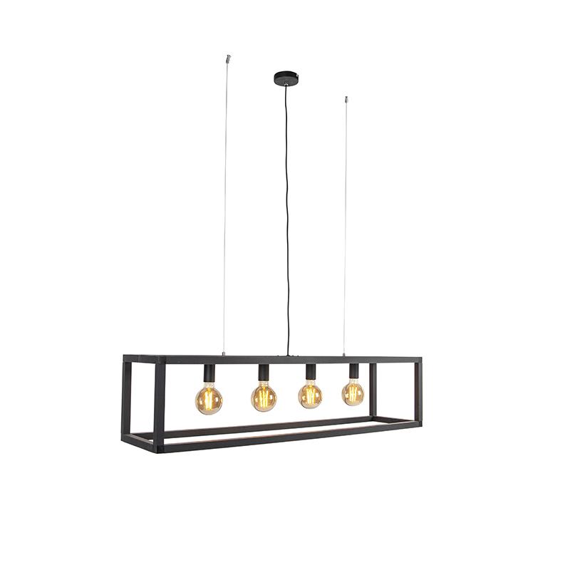 Industriële hanglamp zwart 4-lichts - Big Cage 2