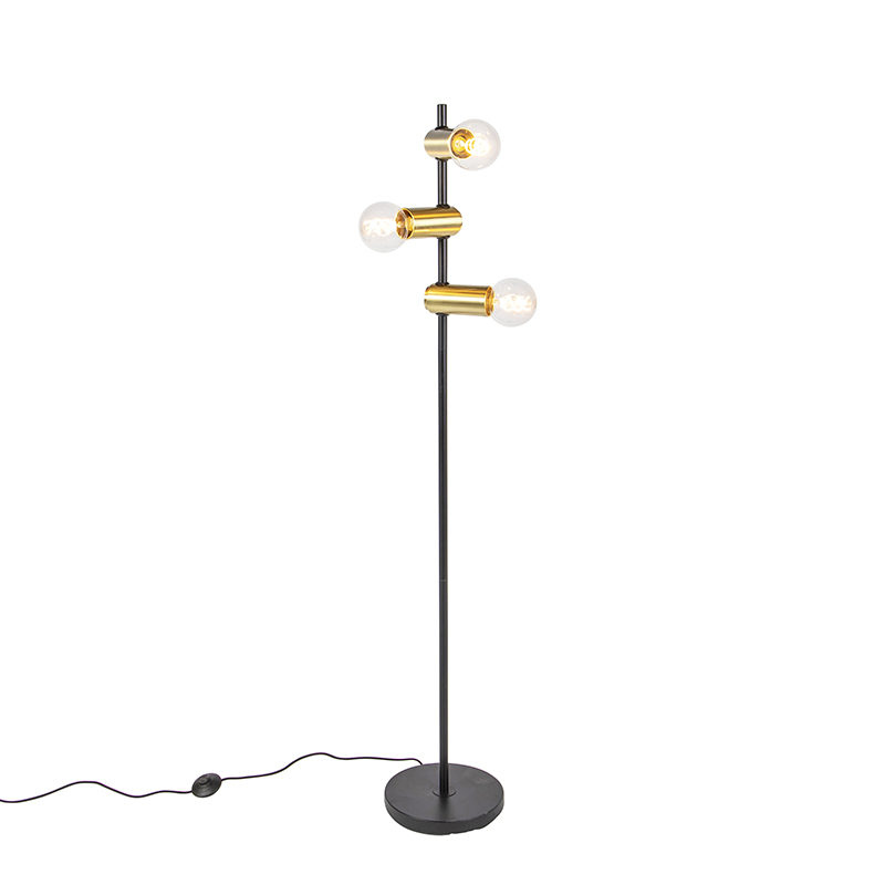 Moderne Zwart Met Messing Vloerlamp 3-lichts - Facil