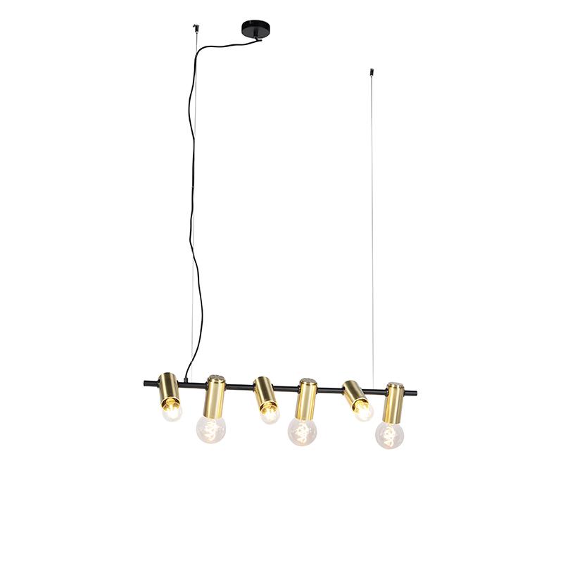 Nowoczesna lampa wisząca czarna mosiądz 6-źródeł światła - Facil