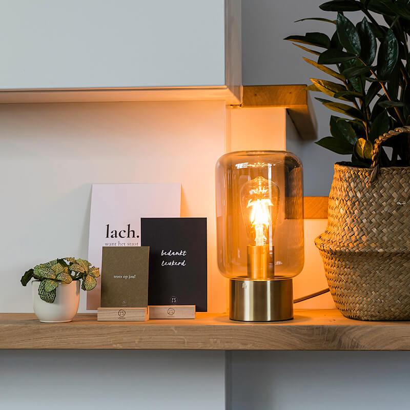 Design messing met smoke glas tafellamp - Bliss Cute