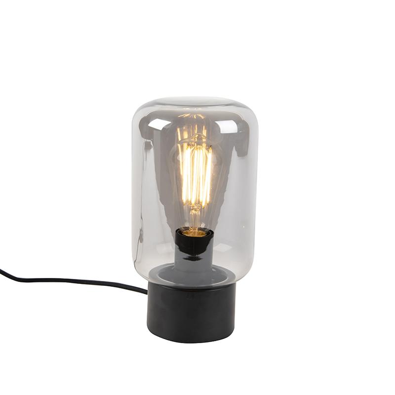 Moderne zwart met smoke glas tafellamp - Bliss Cute