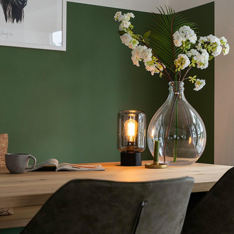 Design tafellamp zwart met smoke glas - Bliss Cute