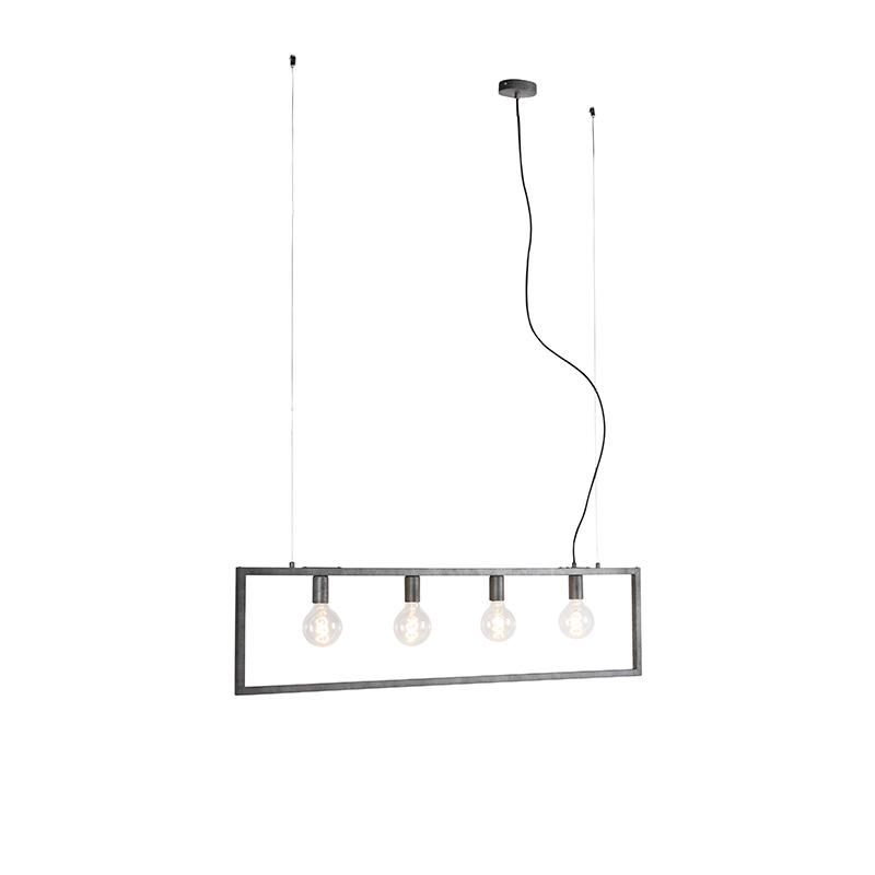 Moderne hanglamp antiek zilver 4-lichts - Simple Cage