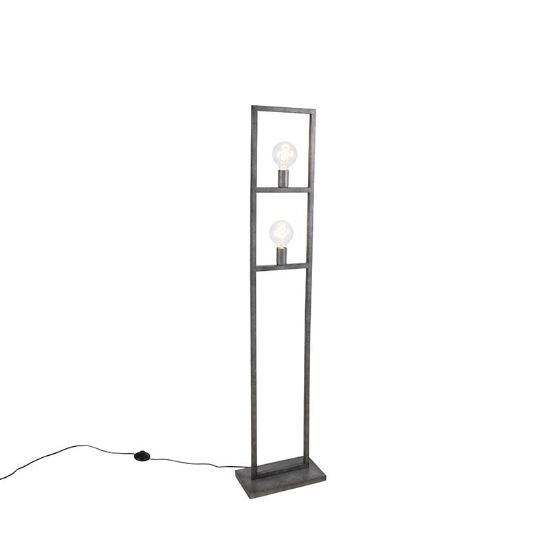 Nowoczesna lampa podłogowa antyczne srebro 2-źródła światła - Simple Cage 2