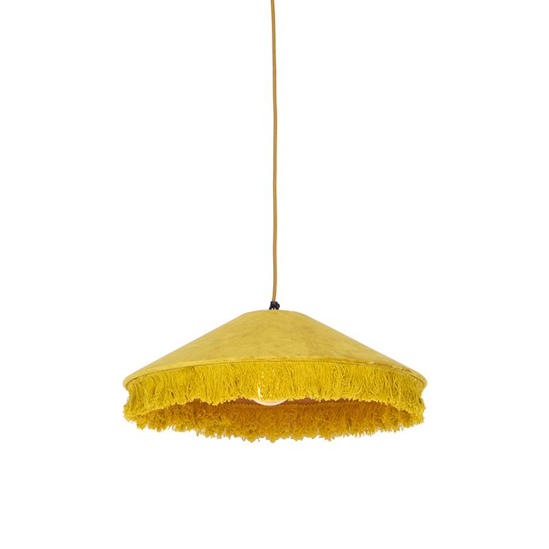 Retro hanglamp geel velours met franjes - Frills