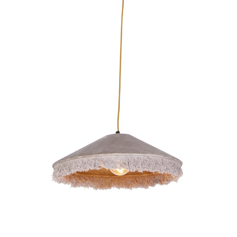 Retro hanglamp beige velours met franjes - Frills