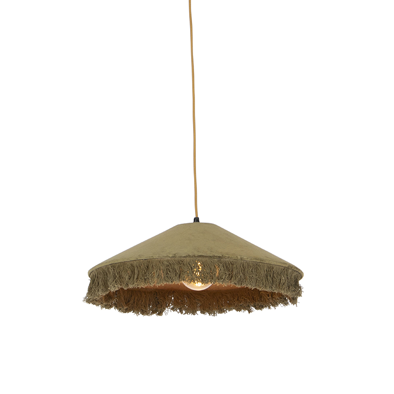 Retro hanglamp groen velours met franjes - Frills