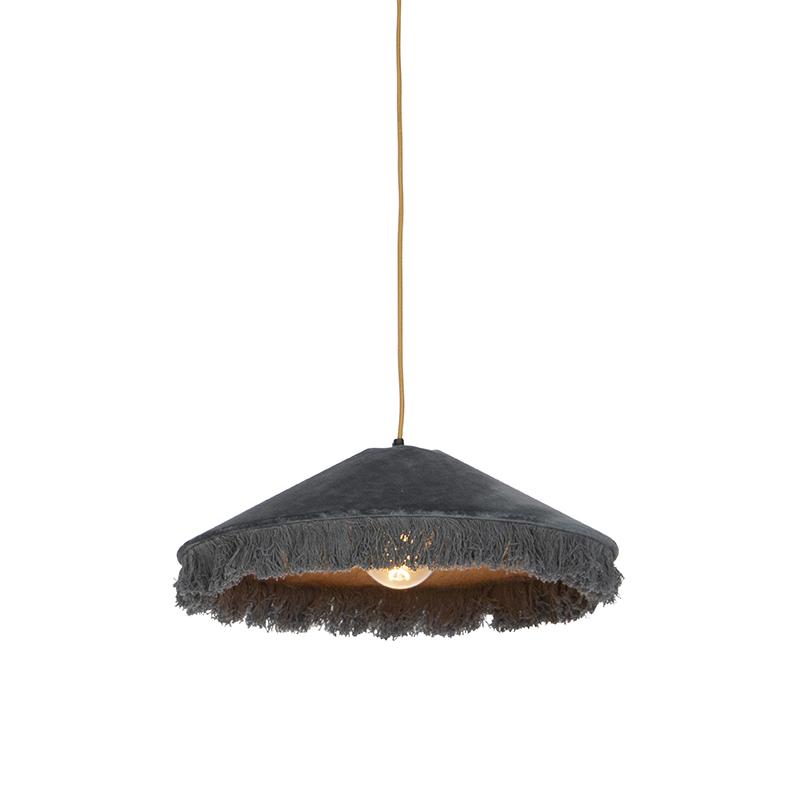 Retro hanglamp grijs velours met franjes - Frills
