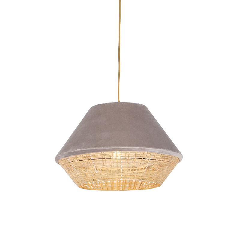 Retro lampa wisząca welur beżowa 45cm - Frills Can
