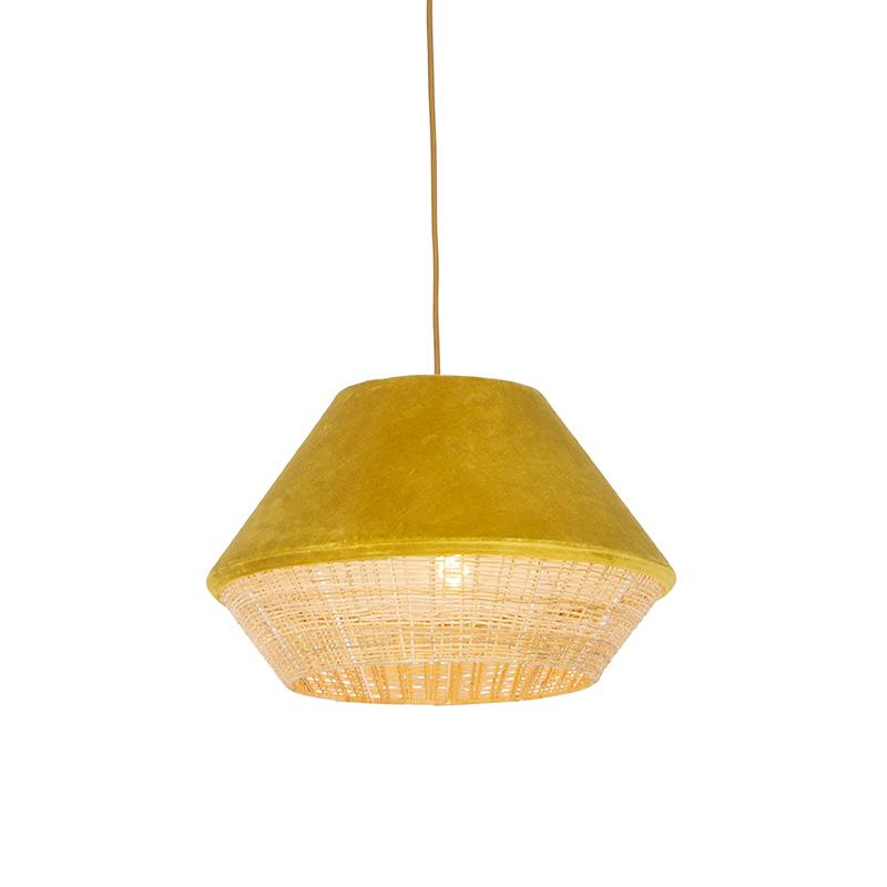 Retro lampa wisząca welur żółta 45cm - Frills Can