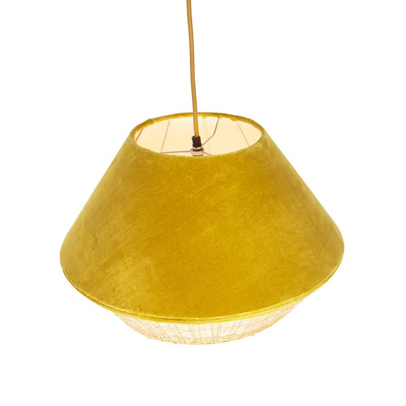Lámpara colgante rústica terciopelo amarillo mimbre 45x28cm - FRILLS CAN