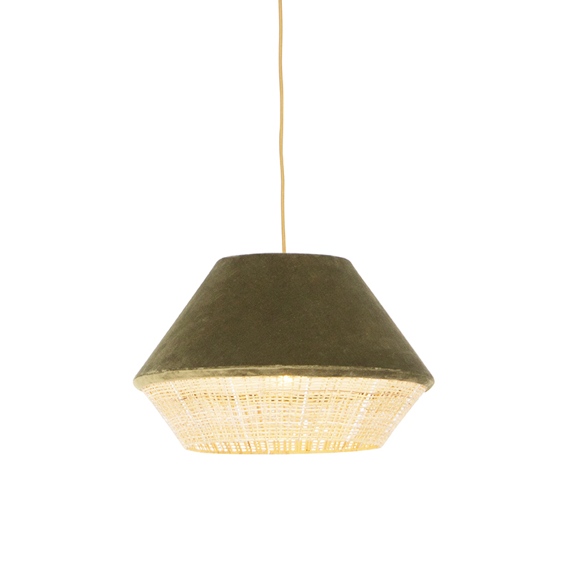 Retro lampa wisząca welur zielona 45cm - Frills Can