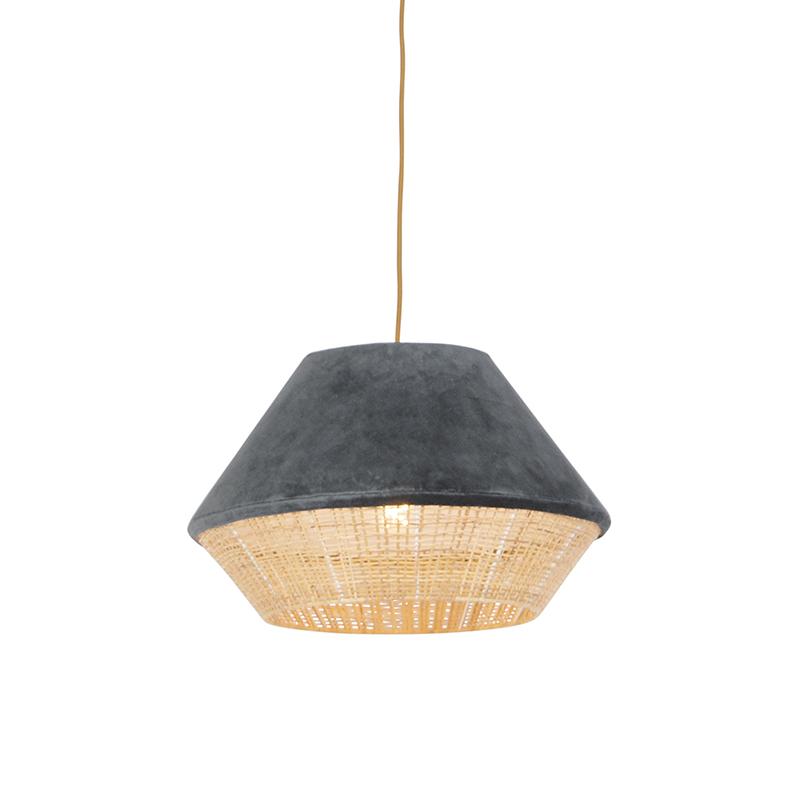 Retro lampa wisząca welur szara 45cm - Frills Can